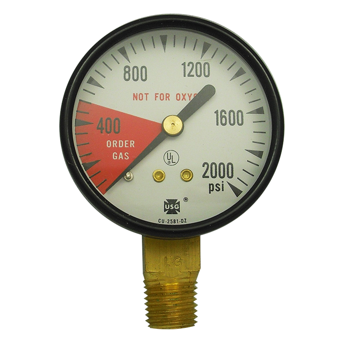 0–2,000 PSI Replacement Gauge w/ Right-Hand Threads