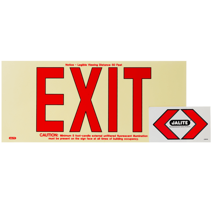 Plastic EXIT, PLM Panel/Red Letter, 50 ft Visibility