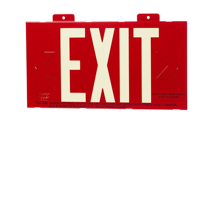 EXIT Photoluminescent, Red, Metal Frame, Single Sided