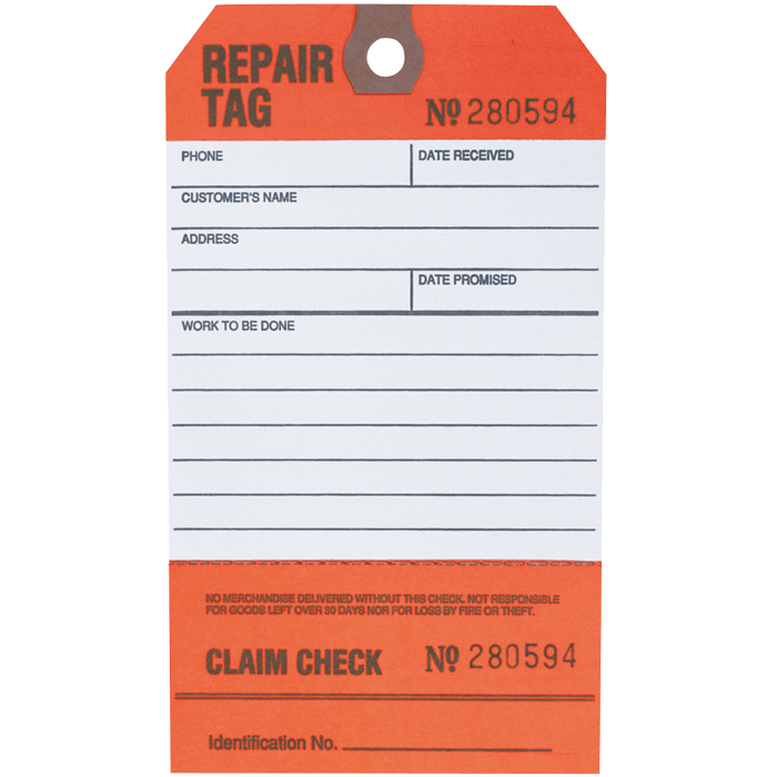 Customer\'s Repair & Claim Check Tag