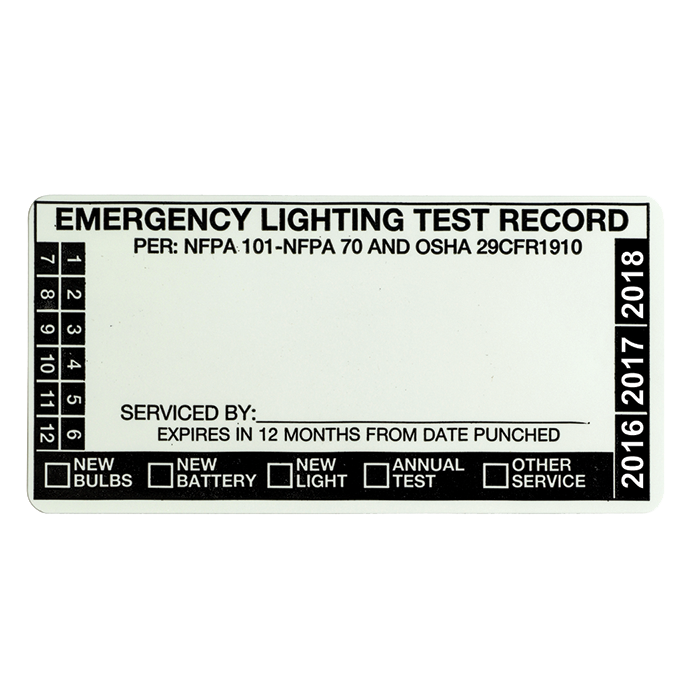Emergency Lighting Test Label, Blank