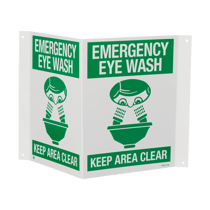 """Emergency Eye Wash…Keep Area Clear"", 18\"