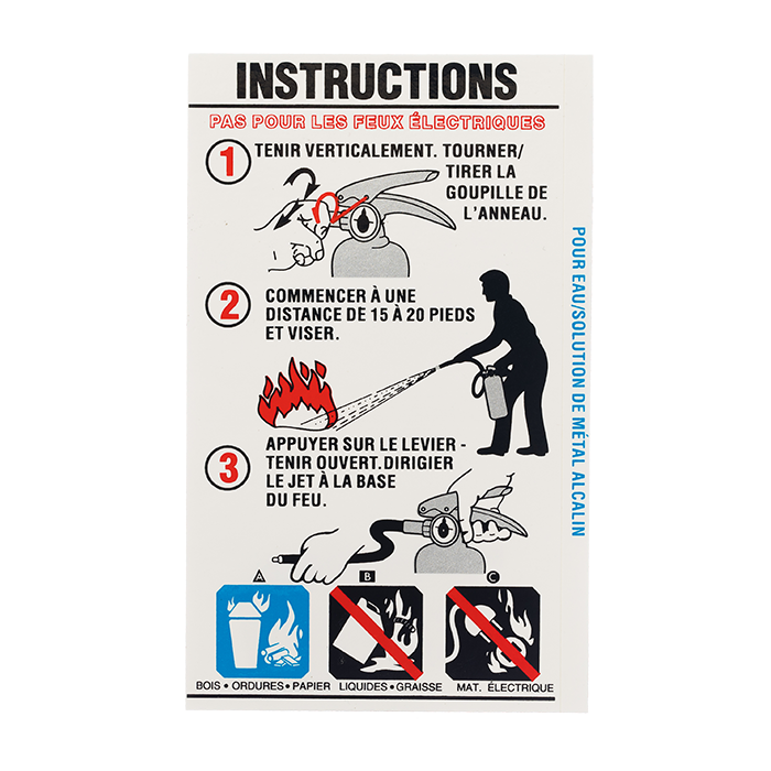 Water Extinguisher Instruction - French version