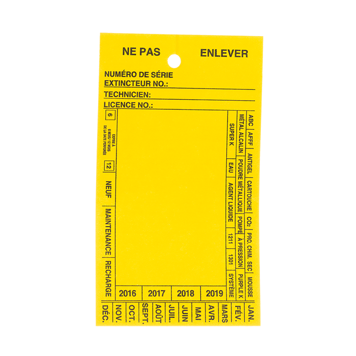 French Blank Servive Tag, Yellow