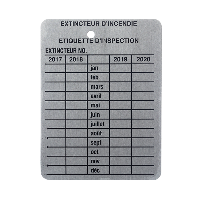 4 Yr. Metal Inspection Tag, French