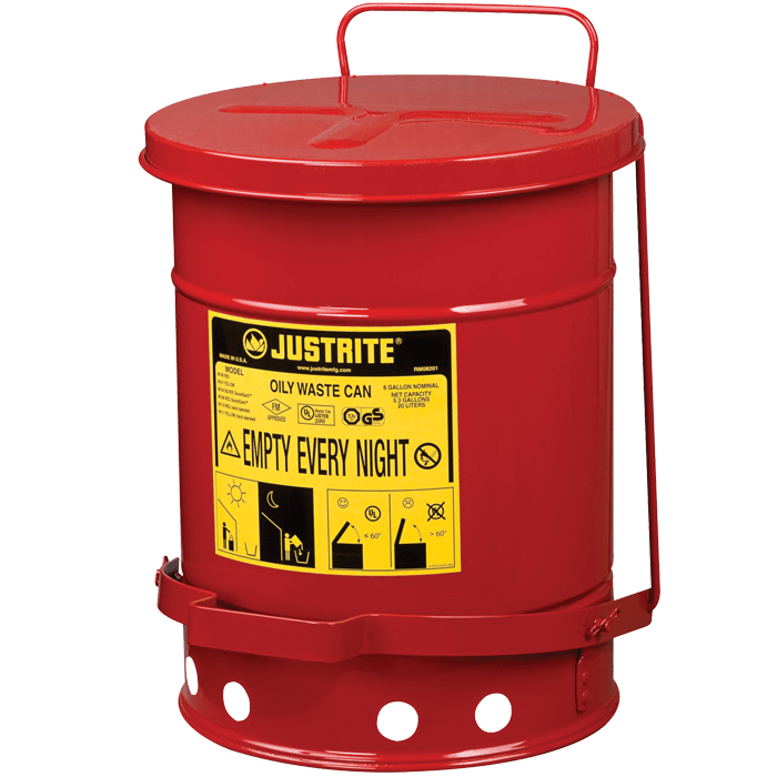 Oily Waste Can, 6 gallon (20L), foot-operated self-closing cover