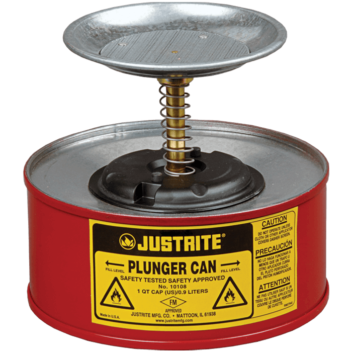 Plunger Dispensing Can, 1 quart (1L), Steel