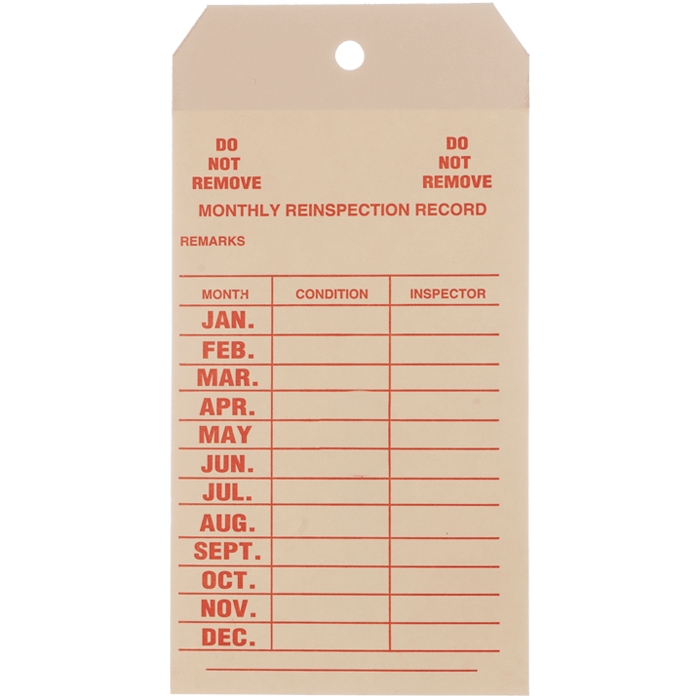 Monthly Inspection Tag, English
