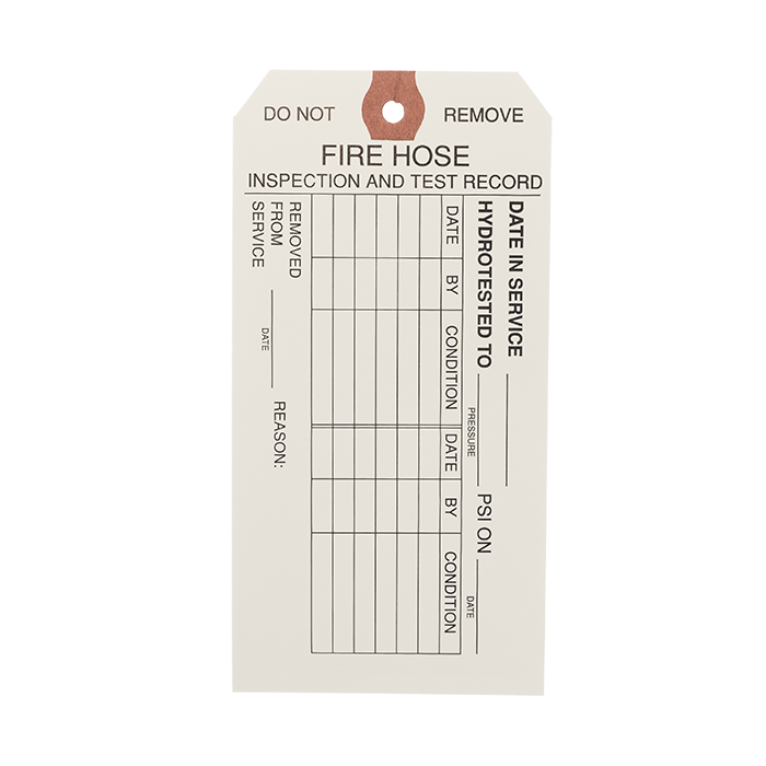Fire Hose Inspection & Test Record Tags