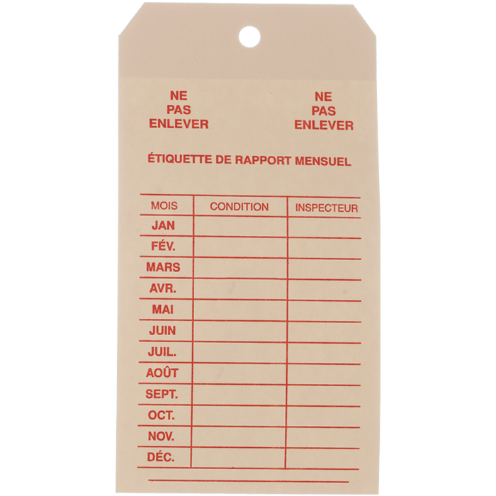 Monthly Inspection Tag, French
