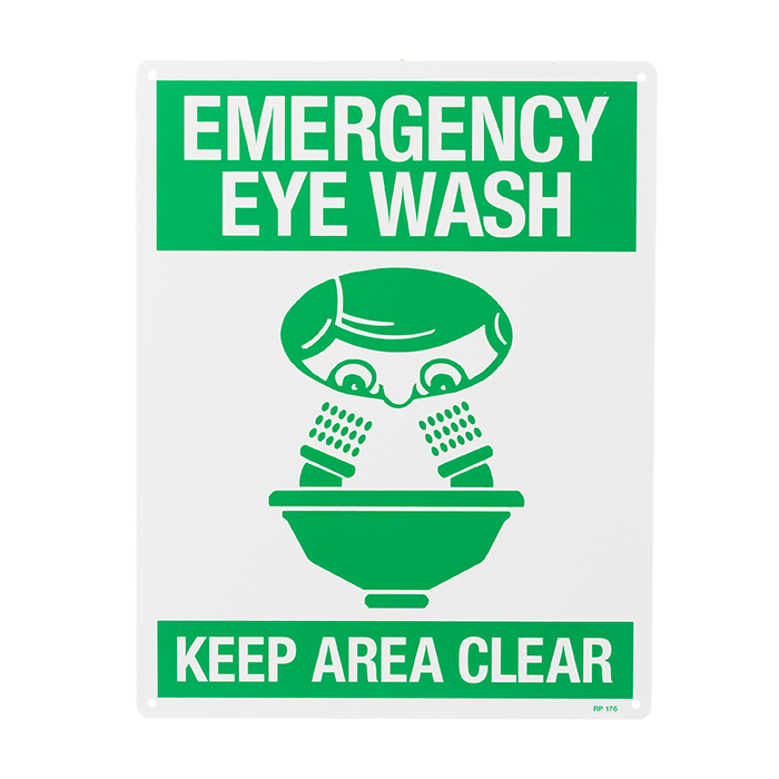 """Emergency Eye Wash…Keep Area Clear"", 8\"