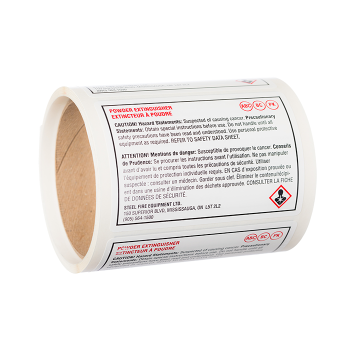 Dry Chemical Blank Label, SDS Format